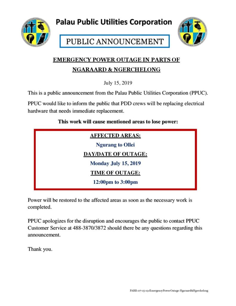 PPUC Public Announcement: Emergency Power Outage in Ngurang